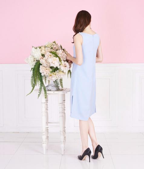 Đầm xanh phối ren cổ-AD170371