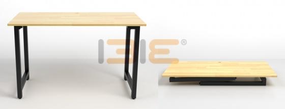 Bộ bàn Rec-T chân đen mặt cánh gián và ghế IB505 đen có tay