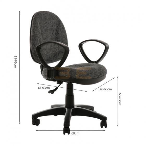 Bộ bàn Rec-U chân đen mặt cánh gián và ghế IB505 đen có tay