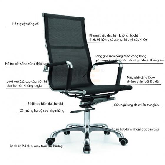 Bộ bàn Rec-U chân trắng mặt cánh gián và ghế IB16A đen