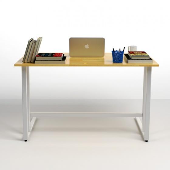 Bộ bàn Rec-U chân trắng mặt tự nhiên và ghế IB16A đen