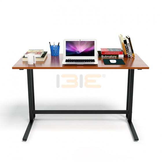 Bộ bàn Rec-U chân đen mặt cánh gián gỗ cao su và ghế IB16A đen