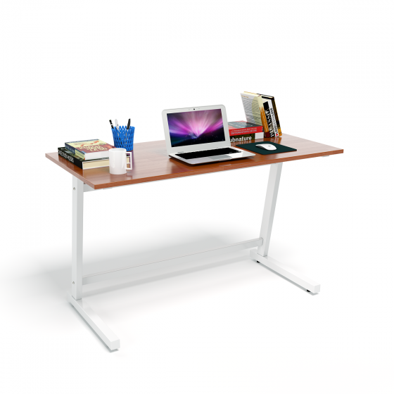 Bộ bàn Rec-Z chân trắng mặt cánh gián và ghế IB517 đen