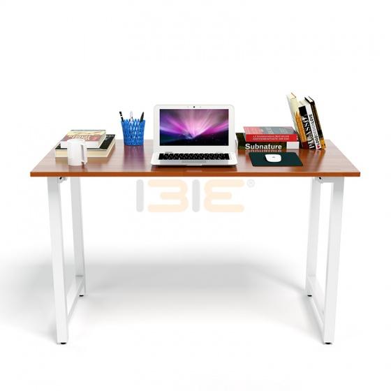 Bộ bàn Rec-T chân trắng mặt cánh gián  và ghế IB517 đen