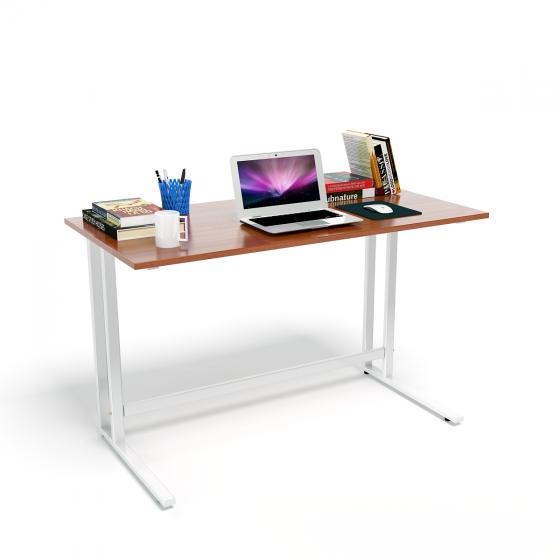 Bộ bàn Rec-U chân trắng mặt cánh gián và ghế IB517 đen