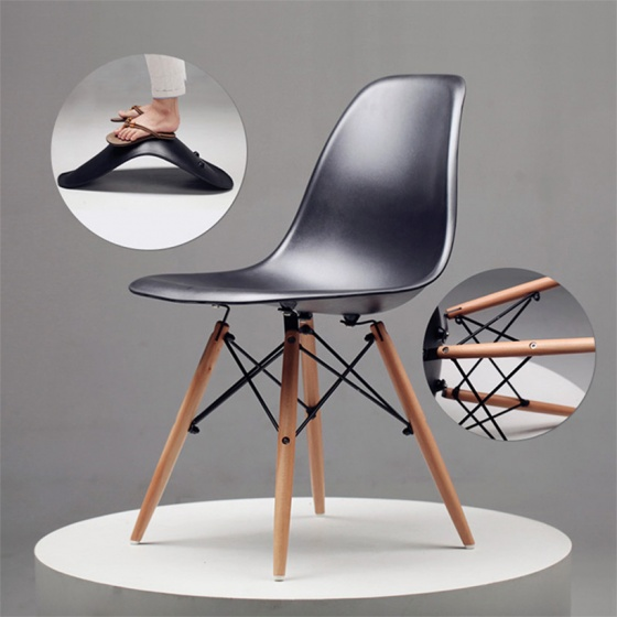 Bộ bàn Rec-F Plus chân trắng mặt cánh gián gỗ cao su và ghế Eames đen chân gỗ