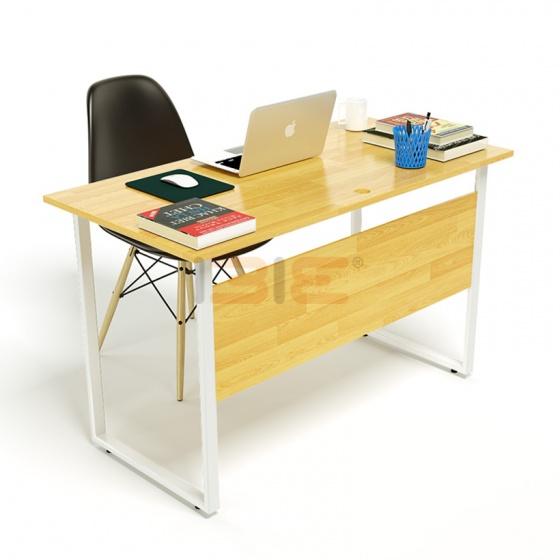 Bộ bàn Rec-F Plus chân trắng mặt tự nhiên và ghế Eames đen chân gỗ