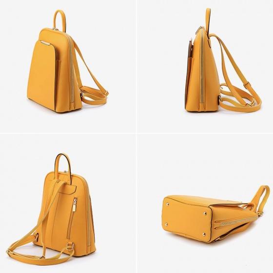 Balo thời trang nữ da bò cao cấp Dandiva màu vàng