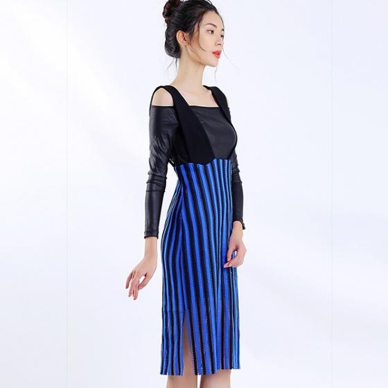 Đầm yếm sọc xanh