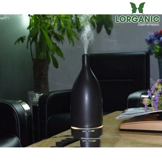 Combo máy xông khuếch tán tinh dầu gốm đen FX2014 + tinh dầu sả chanh + bưởi + cam Lorganic (10ml x3) LGN0158