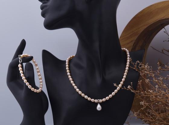Opal - Vòng cổ và vòng tay ngọc trai màu hồng oval tự nhiên_T11