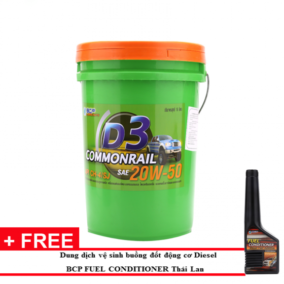 Nhớt động cơ dầu diesel BCP Thái Lan nhập khẩu D3 Commonrail CH4-SJ 20W50-18l tặng súc béc dầu Bcp Diesel Fuel Conditioner 200ml