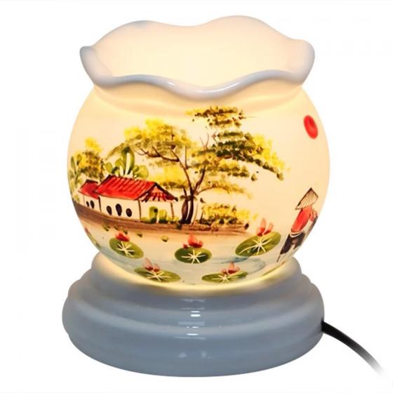 Đèn xông tinh dầu gốm sứ bát tràng phong cảnh, hoa lá size S(Random) - Tinh dầu Oresoi