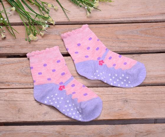 Combo 5 đôi vớ in chống trượt hình giày cho bé gái size S (2-4 tuổi)