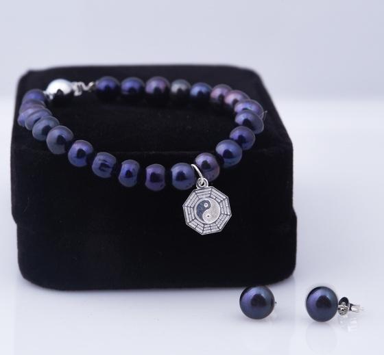 Opal - Vòng tay ngọc trai đen tự nhiên charm bạc kết hợp hoa tai bạc_T12