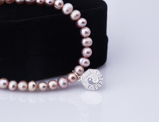 Opal - Vòng tay ngọc trai tím charm bạc và hoa tai cùng màu _ T12