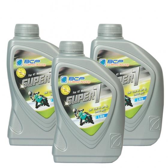 Combo 3 chai nhớt Thái Lan nhập khẩu cho xe số BCP SUPER 1 - SAE 15W40 - API SL - JASO MA -  1L