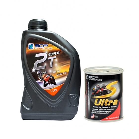 Combo nhớt 2 thì cao cấp nhập khẩu Thái Lan - BCP Super 2T - TC/FD - 1 Lít + dung dịch vệ sinh buồng đốt xe máy nhập khẩu Thái Lan - BCP S ULTRA - 60ml