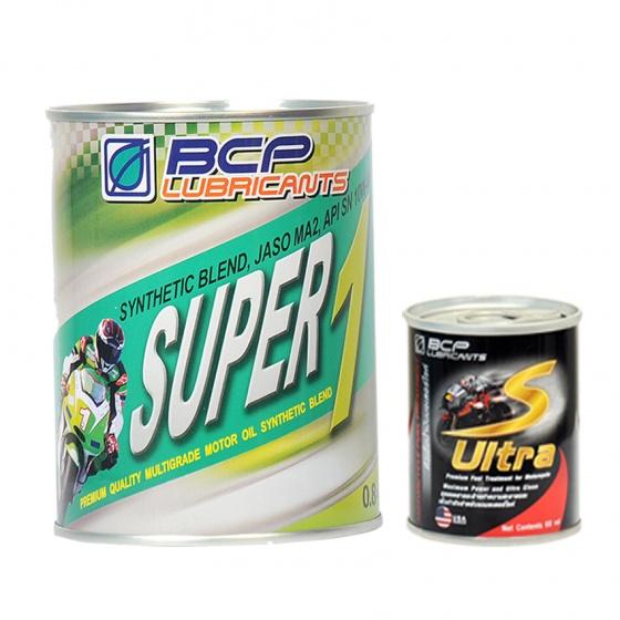Combo nhớt nhớt bán tổng hợp cao cấp nhập khẩu Thái Lan -  BCP 10W40 SN -1L+ dung dịch vệ sinh buồng đốt xe máy nhập khẩu Thái Lan - BCP S ULTRA - 60ml