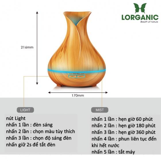 Combo máy khuếch tán tinh dầu bình hoa màu vàng FX2021 + sả chanh + bưởi + cam Lorganic (10ml x3) LGN0193