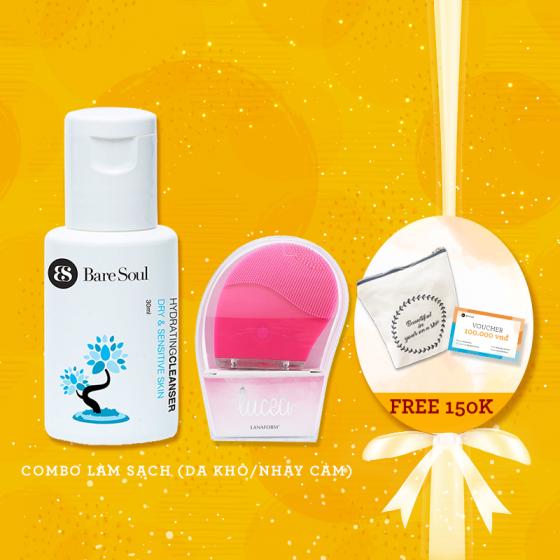 Combo làm sạch - Da khô & nhạy cảm - Sữa rửa mặt cấp ẩm 30ml + Máy rửa mặt Lanaform + Quà tặng trị giá 235k
