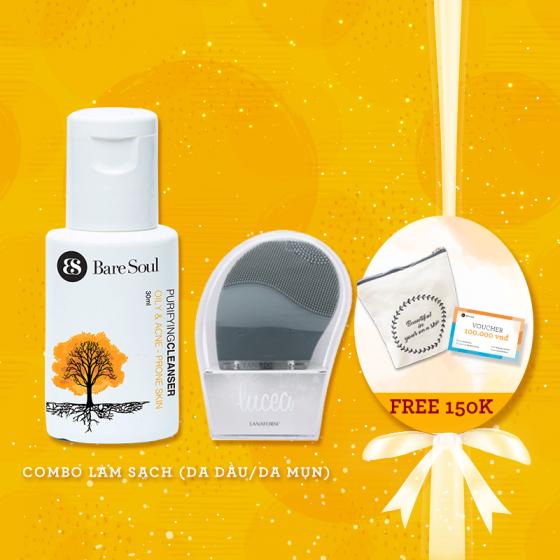 Combo làm sạch - Da dầu & mụn - Sữa rửa mặt ngừa mụn 30ml + Máy rửa mặt Lanaform + Quà tặng trị giá 235k
