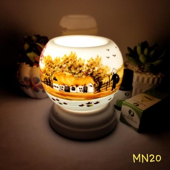 Đèn xông tinh dầu mini tặng 01 lọ tinh dầu sả chanh 5ml NuCare và 01 bóng đèn dự phòng (MN20)
