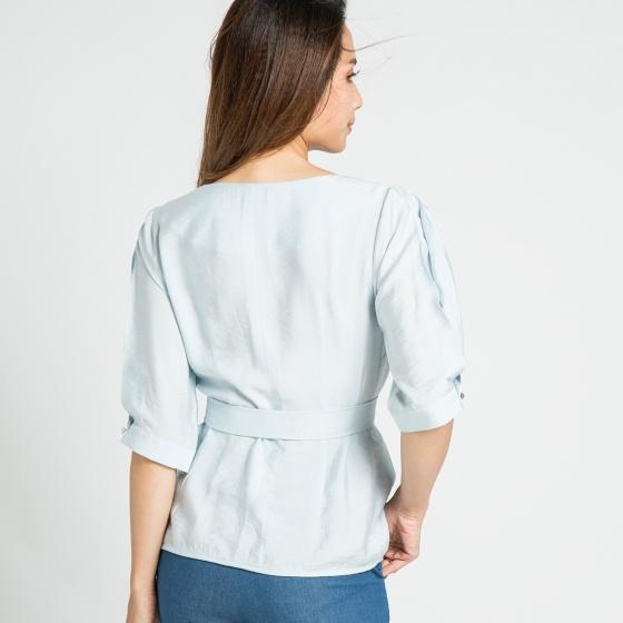 Áo tay bo kèm thắt lưng Hity TOP077 (xanh thiên thai)