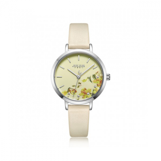 Đồng hồ dây da nữ Julius Hàn Quốc JA-1089A kem