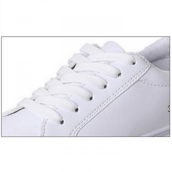 Giày nữ thể thao giả da mềm trắng gáy đen