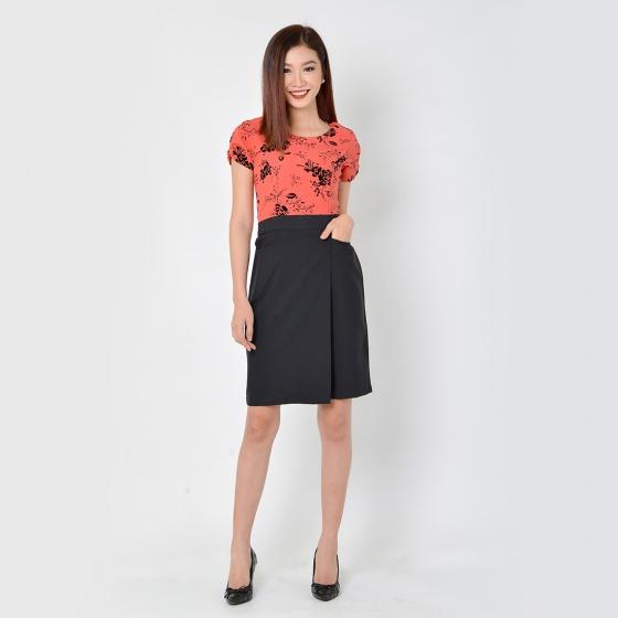 Đầm công sở thời trang Eden phối màu (hồng) - D324