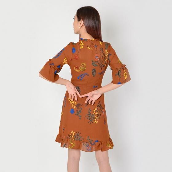 Đầm công sở thời trang Eden tay lỡ (nâu) - D325