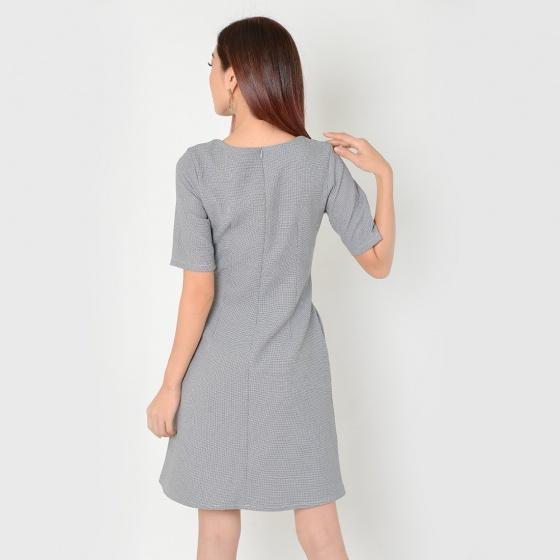 Đầm suông công sở thời trang Eden viền đỏ - D328