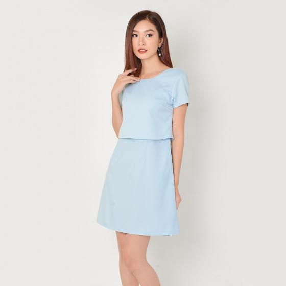 Đầm suông công sở thời trang Eden phối áo croptop (xanh) - D333