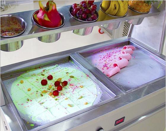 Máy làm kem cuộn Donper 2 chảo