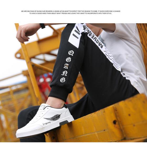 Giày nam thể thao da mềm sneaker trắng đen