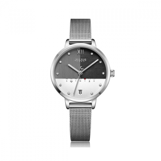 Đồng hồ nữ Julius Hàn Quốc JA-1100A dây thép bạc