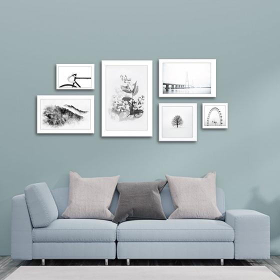 Bộ 6 tranh trang trí phong cách tối giản - màu đen trắng W1325
