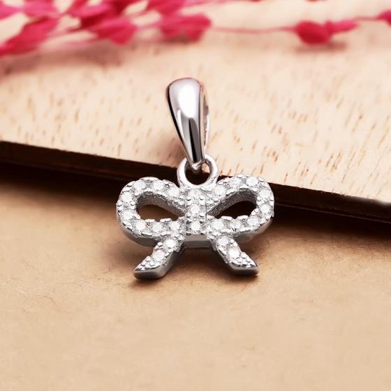 Mặt dây chuyền bạc Simple Bow