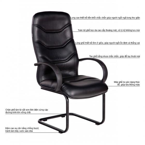 Ghế phòng họp IB4104 lưng da PU chân sơn tĩnh điện màu đen