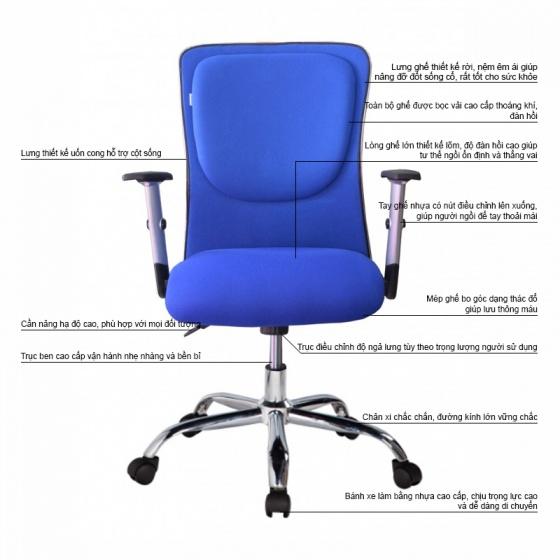 Ghế trưởng phòng IB341 tay điều chỉnh chân thép mạ cao cấp màu xanh