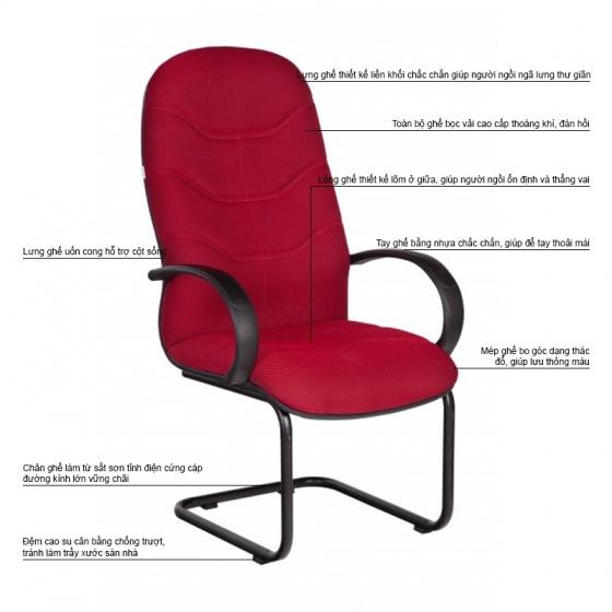 Ghế phòng họp IB4102 lưng cao chân sơn tĩnh điện màu đỏ