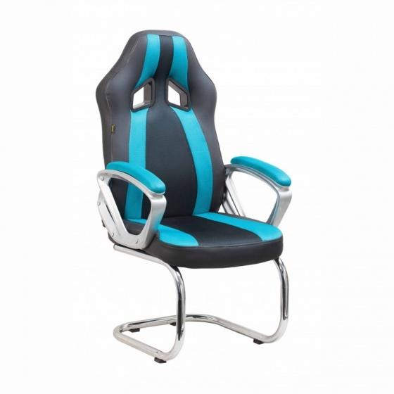 Ghế game IB4535 chân quỳ thép mạ màu xanh dương đen