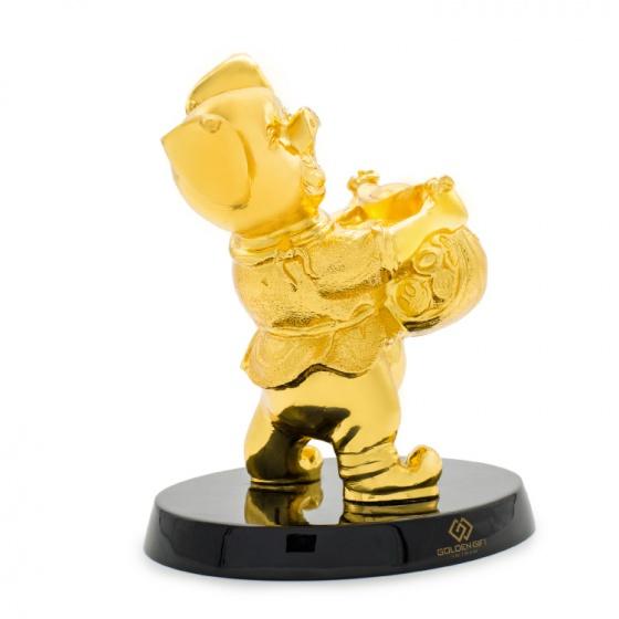 Quà tặng Tết cho Doanh nghiệp: Tượng heo phú quý mạ vàng 24K