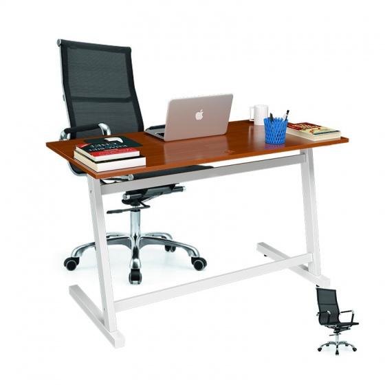 Bộ bàn Rec-Z chân trắng mặt cánh gián gỗ cao su và ghế IB16A đen