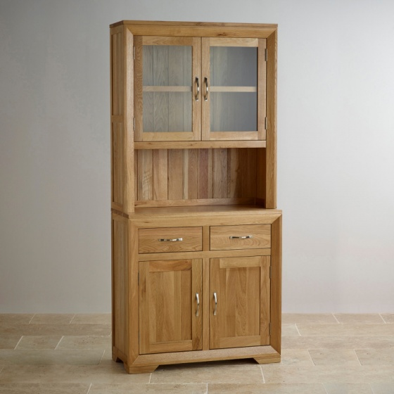 Tủ chén cao Bevel nhỏ gỗ sồi