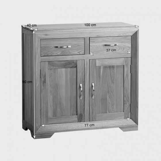 Tủ chén thấp Bevel nhỏ gỗ sồi