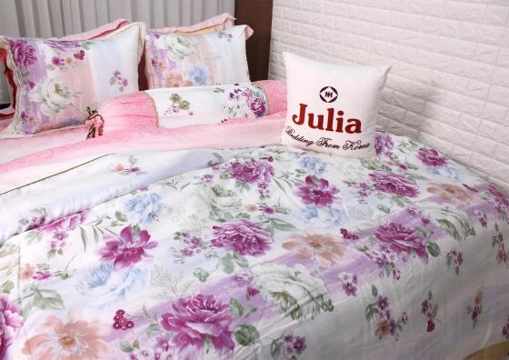 Bộ chăn ga gối lụa tencel tơ tằm Hàn Quốc Julia siêu mát mịn (bộ 5 món chần gòn 815BC16)160x200x25