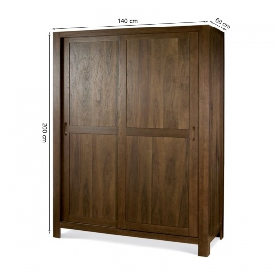 Tủ quần áo cửa lùa Lyon gỗ óc chó 1m4