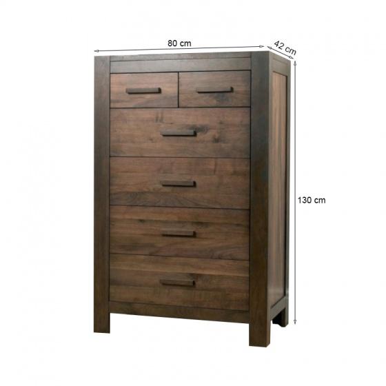 Tủ ngăn kéo 4+2 Lyon gỗ óc chó